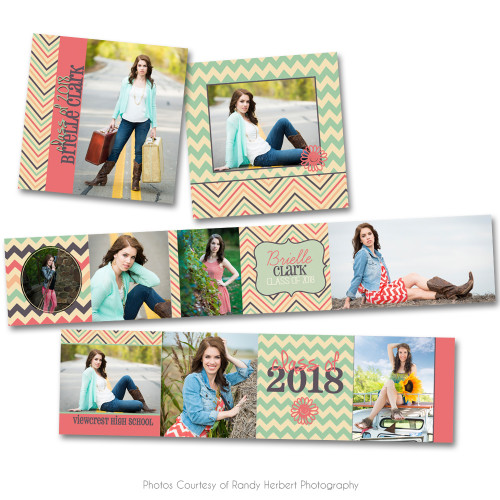 Coral and Mint 3x3 Accordion Book